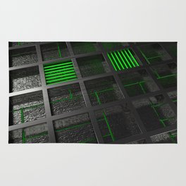 Futuristic industrial brushed metal grate with glowing lines Rug