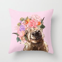 Highland Cow with Flowers Crown in Pink Throw Pillow