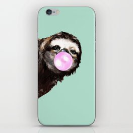 Bubble Gum Sneaky Sloth in Green iPhone Skin