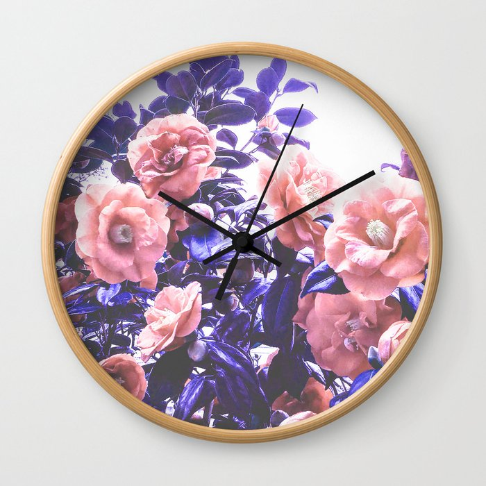 Wild Roses - Ultra Violet and Coral #decor #floral #buyart Wall Clock