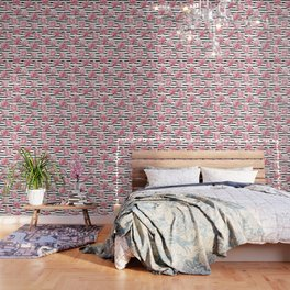 Simply Drawn Stripes and Roses Wallpaper