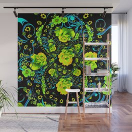 YELLOW ROSE & BLUE RIBBONS ON BLACK ART Wall Mural