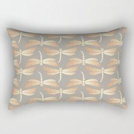 Golden Dragonflies Pattern Rectangular Pillow