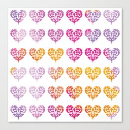 Rainbow Watercolor Damask Heart Canvas Print