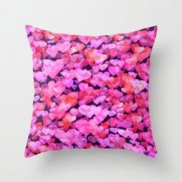 Boken watercolor romantic hearts Throw Pillow