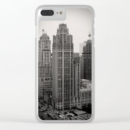 Chicago Tribune Tower Building Black and White Photo Clear iPhone Case