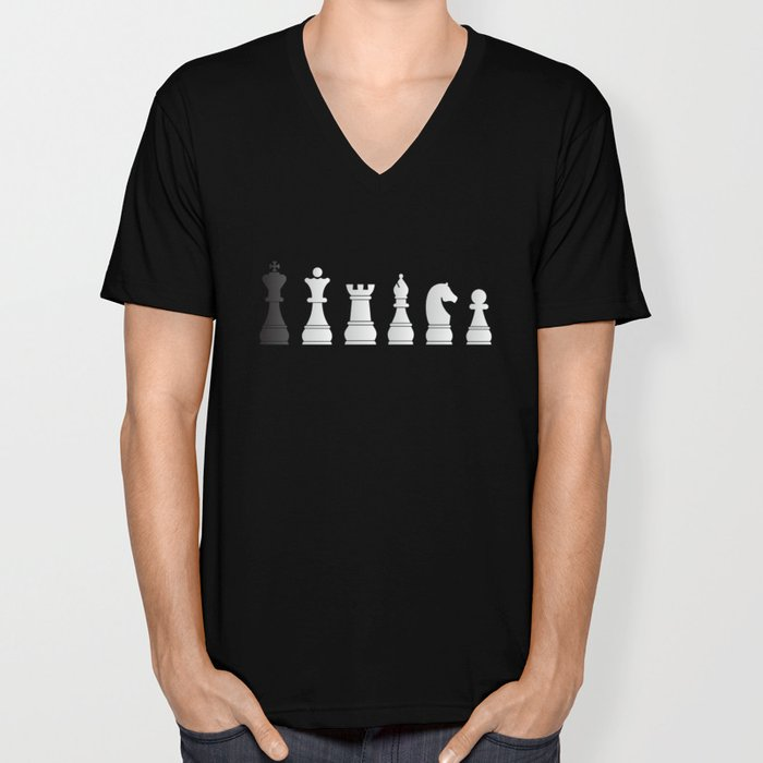 All white one black chess pieces Unisex V-Neck