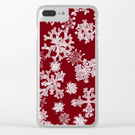 Snowflakes(red backgroud) Clear iPhone Case