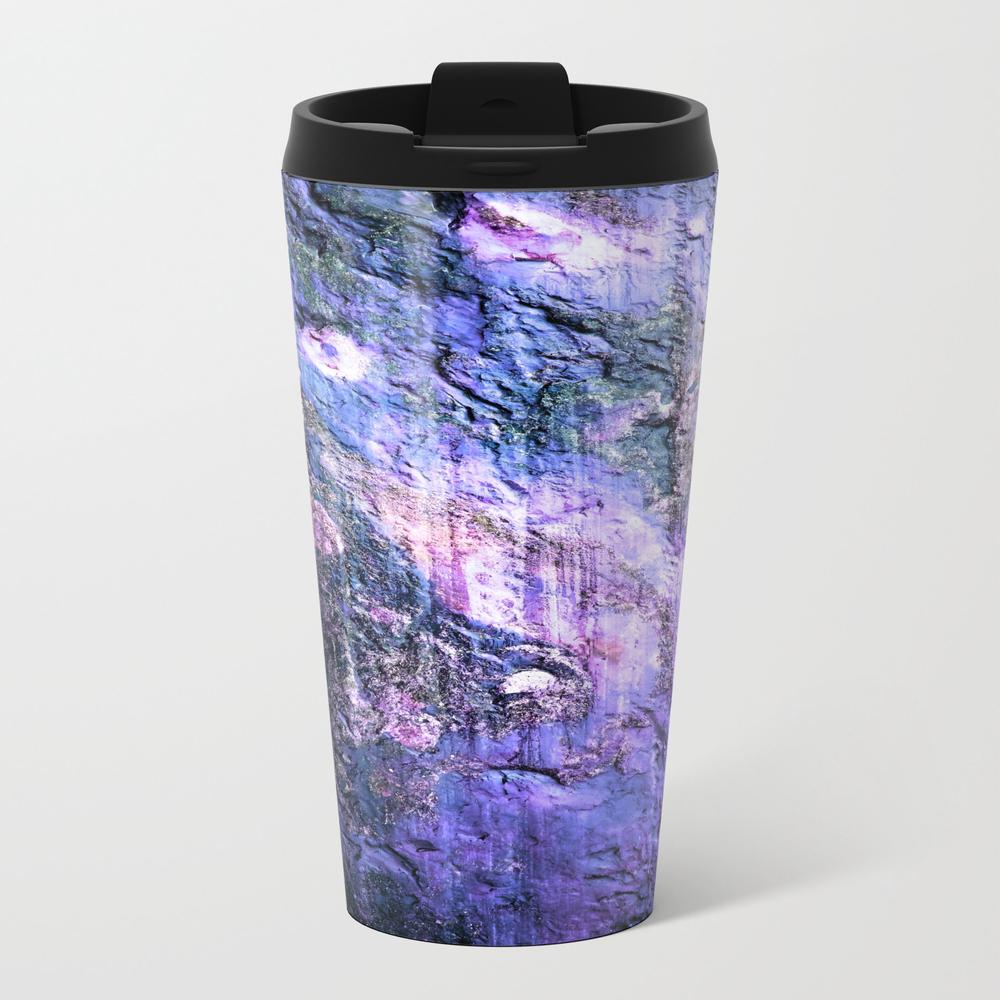 Natural Texture Lavender Teal Metal Travel Mug by Lilkiddies MTM9000112