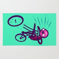 cycling Area & Throw Rugs featuring Cycling Disaster by Artistic Dyslexia