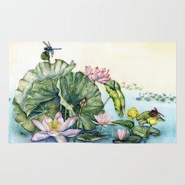Japanese Water Lilies and Lotus Flowers Rug