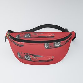 Red Hot Sports Car Cartoon Fanny Pack