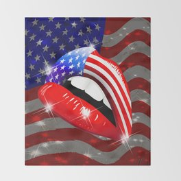 USA Flag Lipstick on Sensual Lips Throw Blanket
