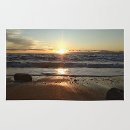Sunset on The Beach In Torre Delle Stelle Rug