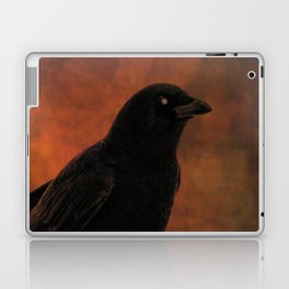 Crow Portrait In Black And Orange Laptop & iPad Skin