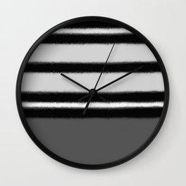 black white gray stripes Wall Clock