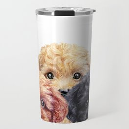 Toy poodle trio, Dog illustration original painting print Travel Mug