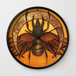 Rhino Beetle WIth Copper Moon Wall Clock