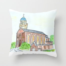 University of Dayton watercolor, UD Chapel, Dayton, OH Throw Pillow