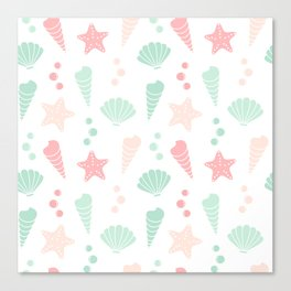 cute colorful summer pattern with seashells and starfishes Canvas Print