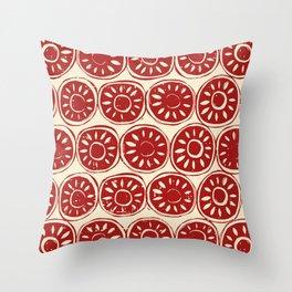 flower block red ivory Throw Pillow