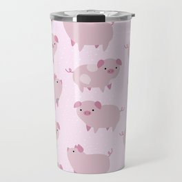 Cute Pink Piglets Pattern Travel Mug