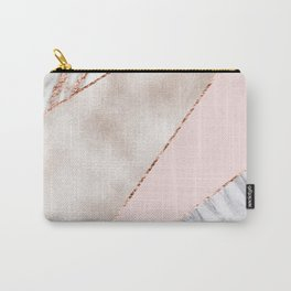 Spliced mixed rose gold marble Carry-All Pouch