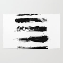 Abstract Black Brushstrokes Rug