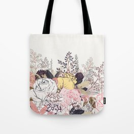 Miles and miles of rose garden. Retro floral pattern in vintag style Tote Bag