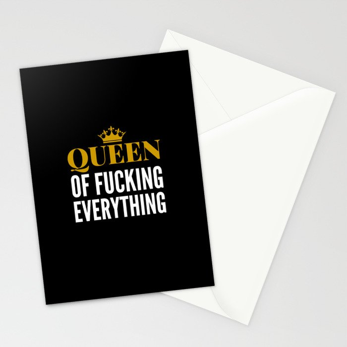 QUEEN OF FUCKING EVERYTHING (BLACK) Stationery Cards