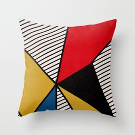 Primary Colors and Stripes Throw Pillow