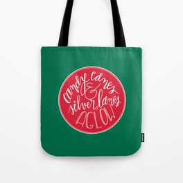 Candy Canes and Silver Lanes Tote Bag