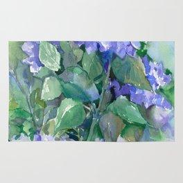 Hydrangea, Sky Blue Flowers, Royal Blue Wall art Rug