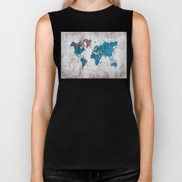 world map 96 blue #worldmap #map Biker Tank