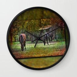 Horses Grazing Wall Clock