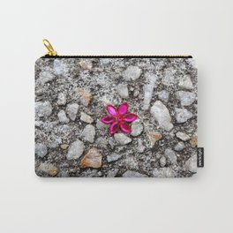 Pink Flower on Pebble Pavement Carry-All Pouch