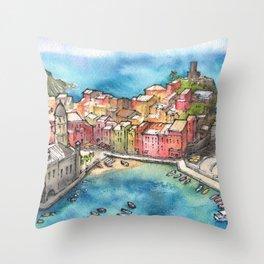 Cinque Terre ink & watercolor illustration Throw Pillow
