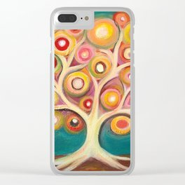 Tree of life with colorful abstract circles Clear iPhone Case