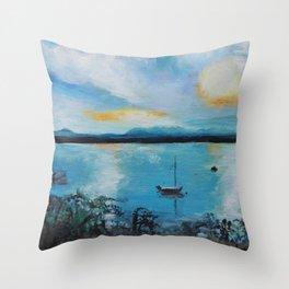 Lake Champlain at Sunset Throw Pillow