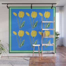 Yellow Tulips with Blue Pattern Wall Mural