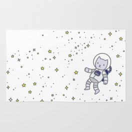 catstronaut cute cat astronaut in space with yellow stars for kids science nerd geeks Rug