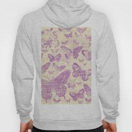 purple, vintage, butterflies, parchment Hoody