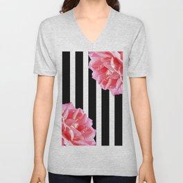 Pink roses on black and white stripes Unisex V-Neck