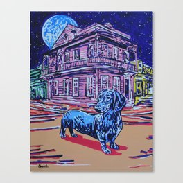 Once in a Blue Moon Dachshund Canvas Print