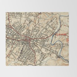 Topographic Throw Blankets Society - Vintage map of virginia