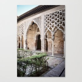 Patio Arches - Real Alcazar of Seville Canvas Print