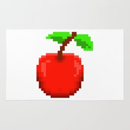 8-Bit Pixel Art Cherry Retro Video Game Design Rug