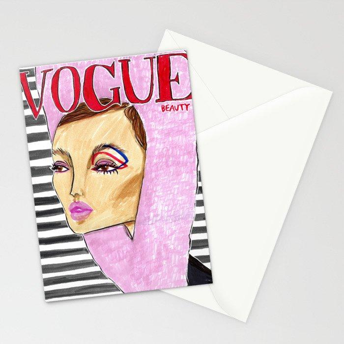 60's Beauty – Fashion Magazine Cover – Original Fashion art, Fashion Illustration, Fashion wall art Stationery Cards