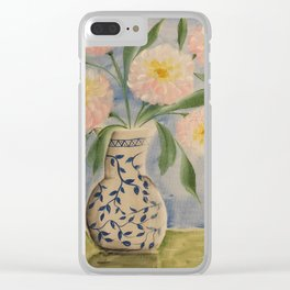 Peony in Blue Willow Vase Clear iPhone Case