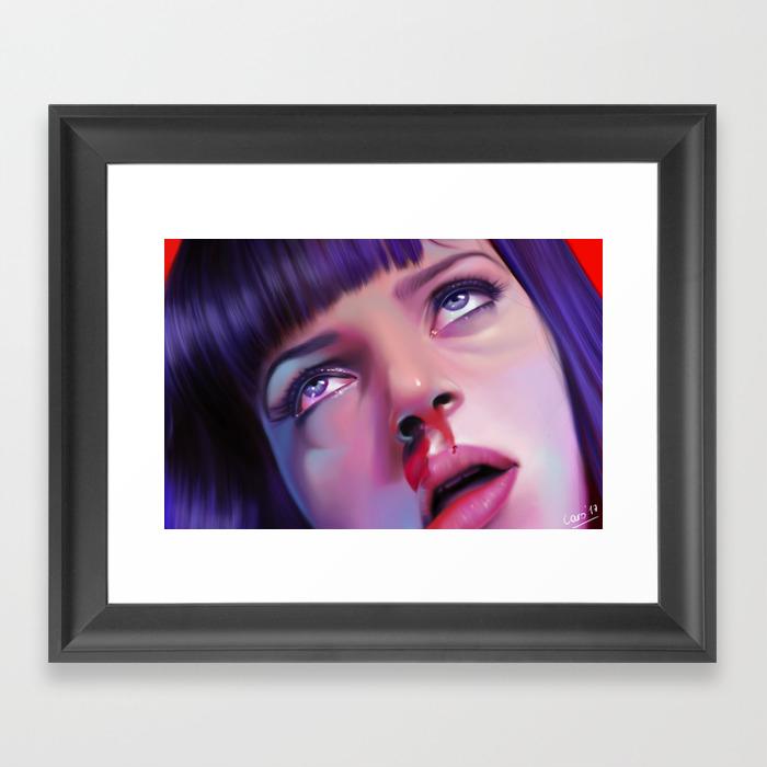 Mia Wallace - Pulp Fiction Framed Art Print by Carolinevermeir FRM8478550